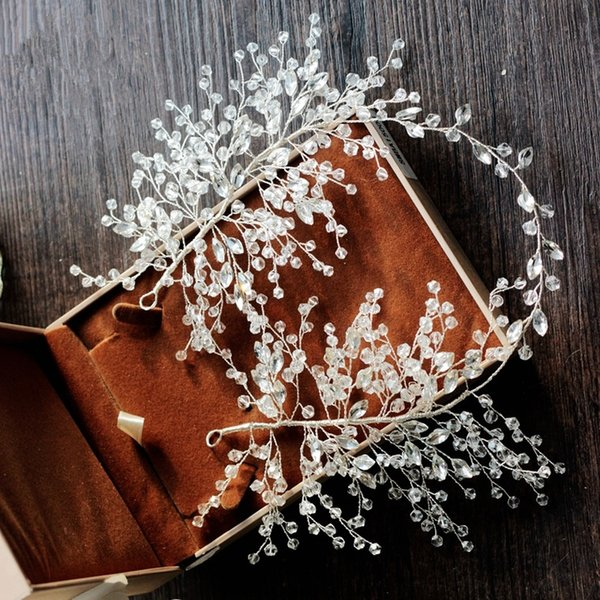 Bridal Wedding Rhinestone Crystal Headbands Hairband Tiaras Hair Accessories Headpiece Silver Handmade Jewelry 40cm Wholesale Party Prom
