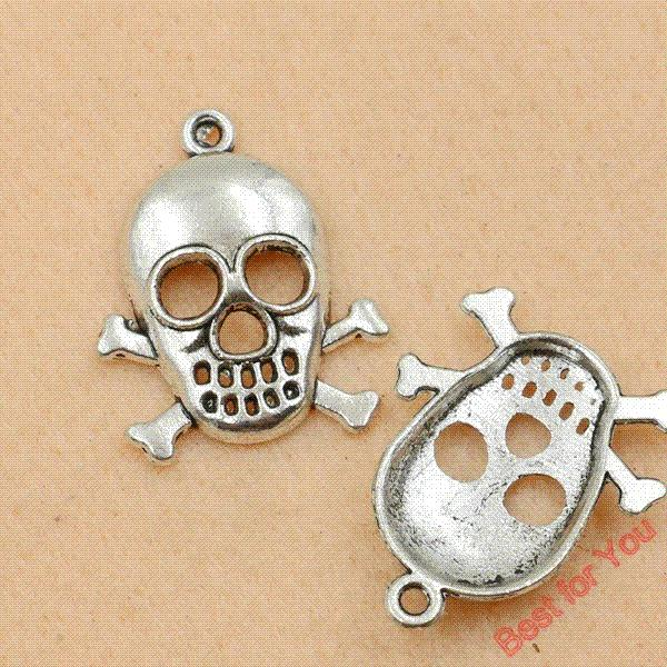50pcs Vintage Skull Pirate Charms Pendants for Jewelry Making Tibetan Silver Plated DIY Floating Charms Handmade 26x21mm