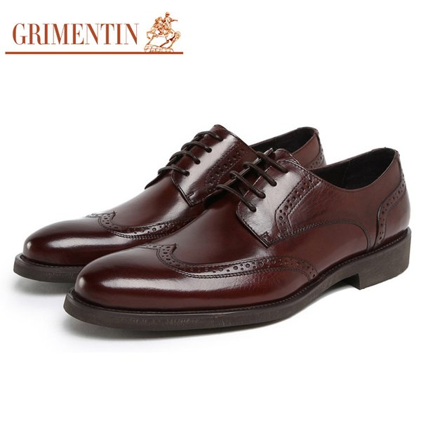 GRIMENTIN Fashion Italian designer formal mens dress shoes genuine leather men oxford shoes luxury brand wedding office business male shoes