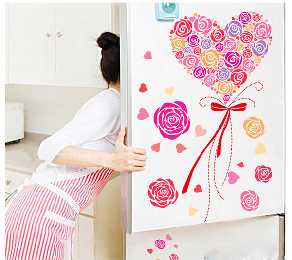 A Bouquet of Roses Wall Art Mural Decor Pink Roses Romantic Home Decoration Wallpaper Decal Sticker Valentine's Day Special Wallpaper Poster