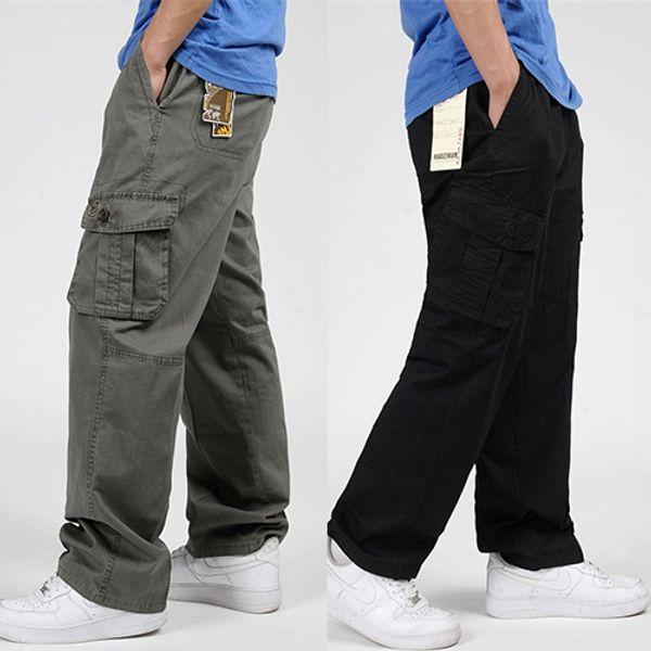 Gros-Grand Taille 6XL Hommes Pantalon Eté Vêtements de Plein Air Grandes Poches Lâche Droite Pantalon Coton Coton Casual Cargo Men Pants 4 Couleurs