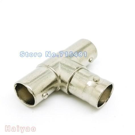 100pcs BNC T Adapter Splitter Connector Coupler Male to 3 Female Jack Plug for cctv camera