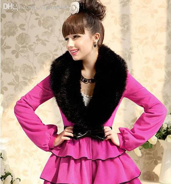 Wholesale-Hot Selling Fashion Style Winter Women Faux Fur Collar Scarf Fur Cap Fur Collar Winter Wrap Shrug To Your Jackets 25