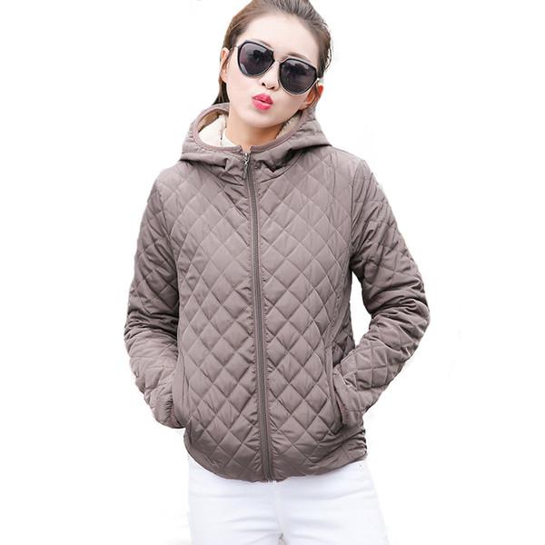All'ingrosso- Autunno 2017 Parkas giacche di base donna inverno femminile più velluto con cappuccio di agnello cappotti giacca invernale di cotone cappotto delle donne outwear