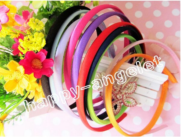 20pcs/lot 1cm Colored Satin Covered Resin women Hairbands,Fashion Hair Band for girls bows flower,Baby Headband,Hair Accessories FJ3109
