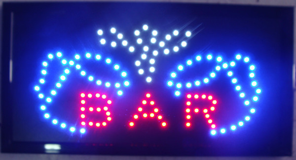 High Visible Bright Big Chip Bar Open Led Moving Flashing Animated Sign Colors Neon Business Motion Light Sign On Off Switch Button Chain
