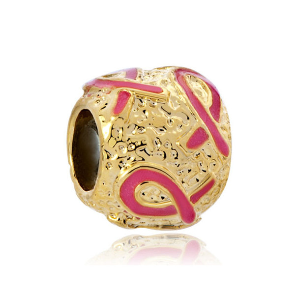 PINK enamel Ribbon Breast cancer awareness in Gold Plating Bead European Charm Fit for Pandora Bracelet