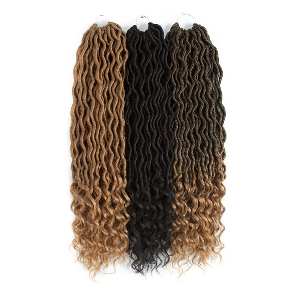 Mtmei Hair 1Packs/Lot Synthetic Goddess Locs Crochet Hair Extensions Low Temperature Fiber Crochet Braids Bulk Hair