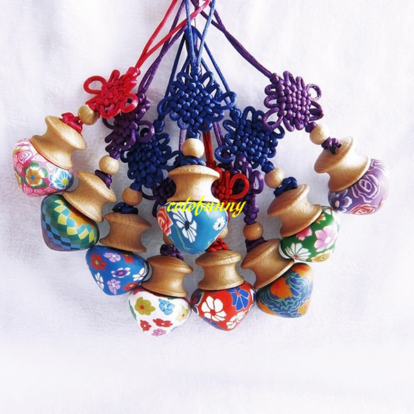 50Pcs/lot Fast shipping 5ML Chinese knot style Car Hanging Clay Craft Bottle Oil Bottle Pendant Perfume bottles
