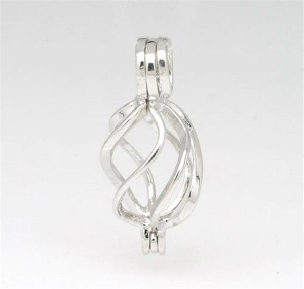 18KGP medaglione gabbia ritorta, perla in argento sterling / cristallo / ciondolo gemma gabbia perlina montaggio per gioielli charms moda fai da te P33