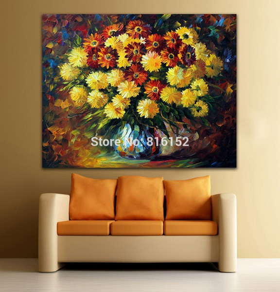 Brilliant Flowers in Vase Modern Palette Knife Oil Painting Printed On Canvas Orange Flower Wall Art Picture