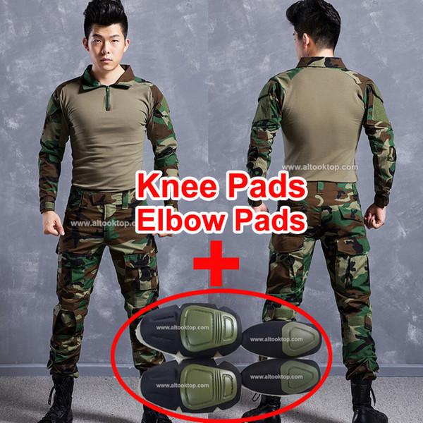 militärisches uniform deutsches acu multicam camo fight shirt + taktische hose mit knieschützern kryptek mandrake camouflage suit paintball