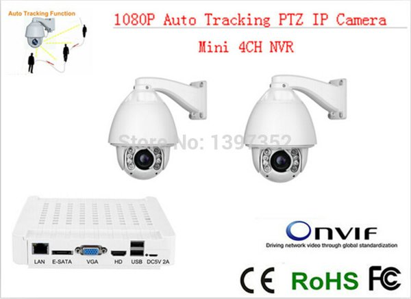 CCTV IP Camera 2pcs +mini NVR IR 150m Auto Tracking ptz High Speed Dome PTZ Camera ip 20x zoom mini nvr 4ch CCTV Security kit