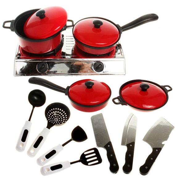 Wholesale- 11 pezzi / set vendita calda divertente per bambini mini cucina cucinare giocattoli pentole cuoco padelle pentole piatti giocare giocattoli cucina bambino strumenti di traning