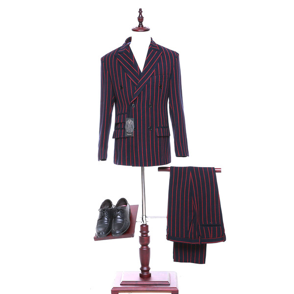 New red striped lapel double-breasted men's wedding dress and men's evening dress (jacket + pants + vest) custom made