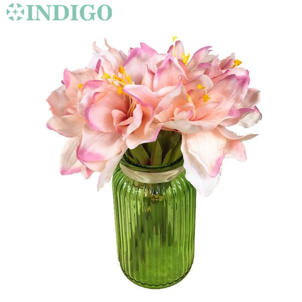 Indigo 3 adet Lot Kısa Pembe Amaryllis Orkide Gelin Ziyafet Çiçek Ipek Yapay Çiçek Düğün Sahte Çiçek Ücretsiz Kargo