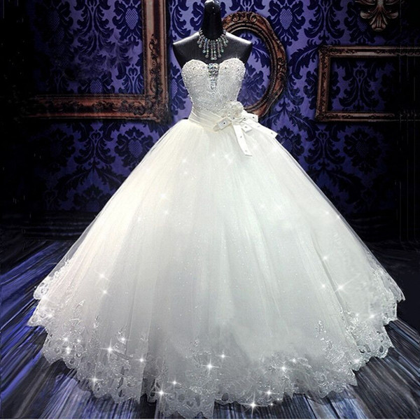 top popular High Quality Real Photo Bling Bling Crystal Wedding Dresses Back Bandage Tulle Appliques Floor-Length Ball Gown Wedding Gowns 2021