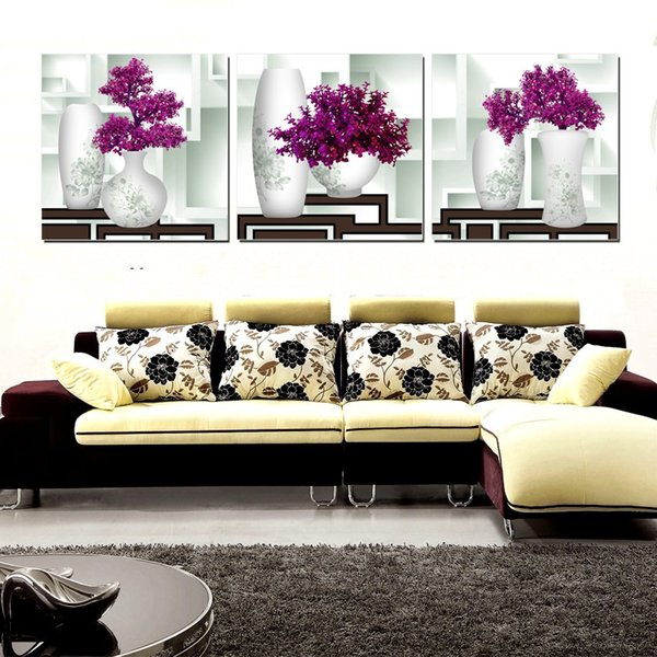 3 Pieces Free Shipping unframed on Canvas Prints Abstract pot potted flower sea sandy beach Sunshade fish Plum chinese rose rose Porcelain