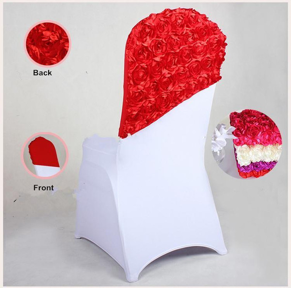 New Arrival Elegant Rose Flower Chair Cover Cap Chair Sash Sashes Wedding Banquet Chair Covers Hotel Decoration Decor Free Shipping
