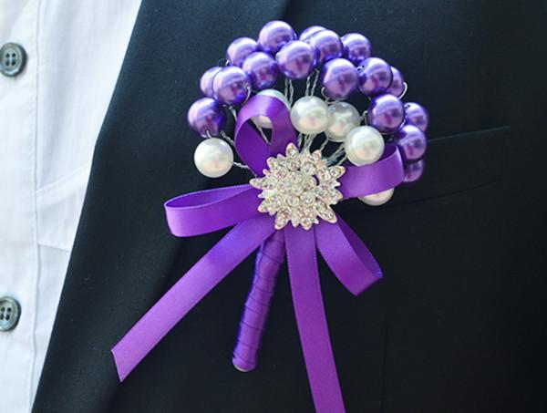 2015 nueva decoración de la boda ramillete de flores artificiales corsage el novio ramillete de la novia perlas Rose de seda envío gratis