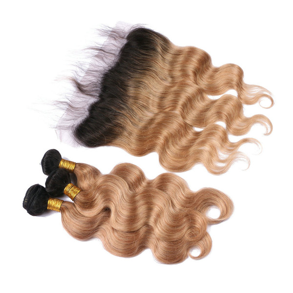 Two Tone 1B 27 Color Honey Blonde Dark Roots Ombre Body Wave Russian Virgin Human Hair 3Bundles With 13x4 Full Lace Frontal Closure