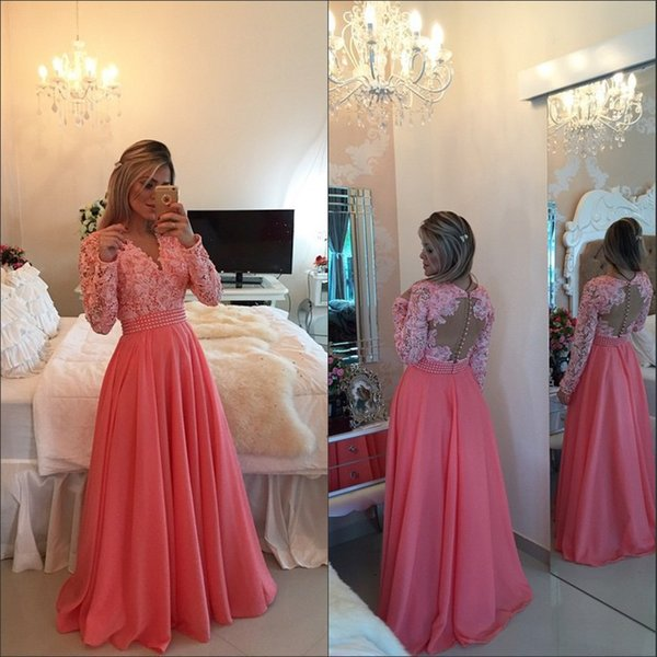 Custom made 2018 V Neck Elegant Lace Applique Pearls Sexy Red Prom Dresses Long Sleeves A line Formal Evening Dress Party Gowns