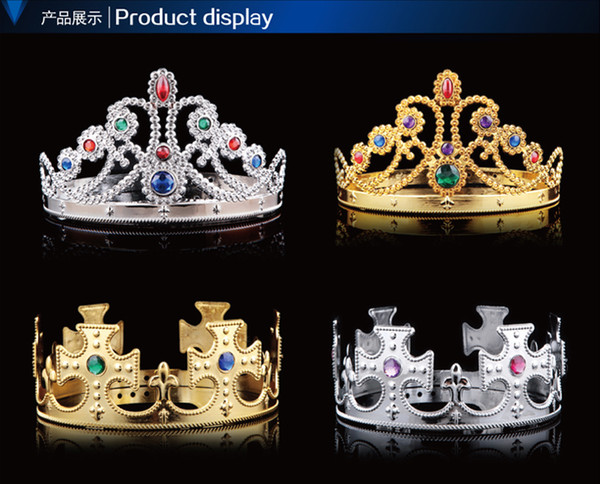 best selling COSPLAY Luxury King Queen Crown Fashion Party Hats Tire Prince Princess Crowns Birthday Party Hat Gold Silver 2 Colors With OPP Bags 20pcs