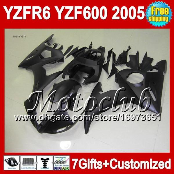 Negro plano 7gifts + Cuerpo para YAMAHA YZFR6 05 2005 YZF-R6 YZF-600 1C11 YZF600 YZF 600 YZF R6 05 2005 YZF R 6 2005 Carenado Kit Negro mate