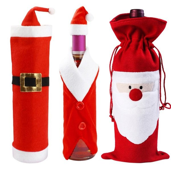 Mix 4 model Red Santa Father Christmas Wine Bag style pocket plush Xmas candy wine gift Claus Bottle Bags Gifts decoration ornaments