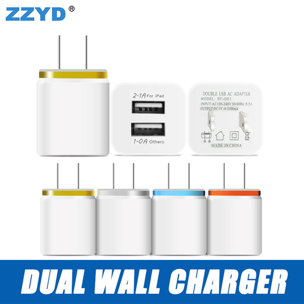 ZZYD For Samsung S8 Note 8 Dual USB Wall Charger 5V 2.1A 1A Metal Travel Adapter US EU plug AC Power Adapter