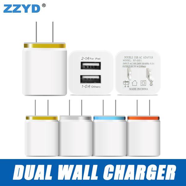 ZZYD para Samsung S8 Note 8 Dual USB Wall Charger 5V 2.1A 1A Adaptador de viaje de metal US EU plug Adaptador de corriente alterna