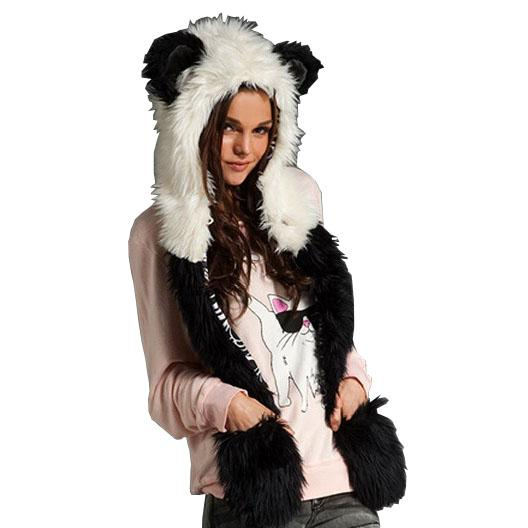 Wholesale- 2016 Russian Women's Winter Hats Ear Flaps And Scarf Animal Pattern Fake Rabbit Fur Hats Girl Cartoon Patchwork Bomber Hats