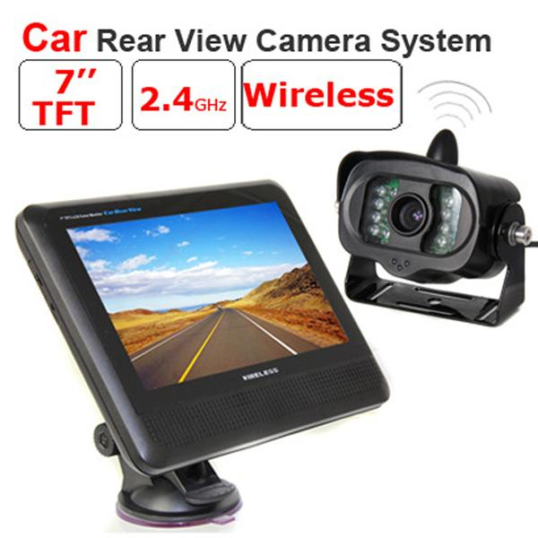 2.4GHz Wireless Car Rear View Camera System 7 inch TFT LCD Monitor+Wireless IR Night Vision Rear View Reverse Backup Camera for Truck Bus