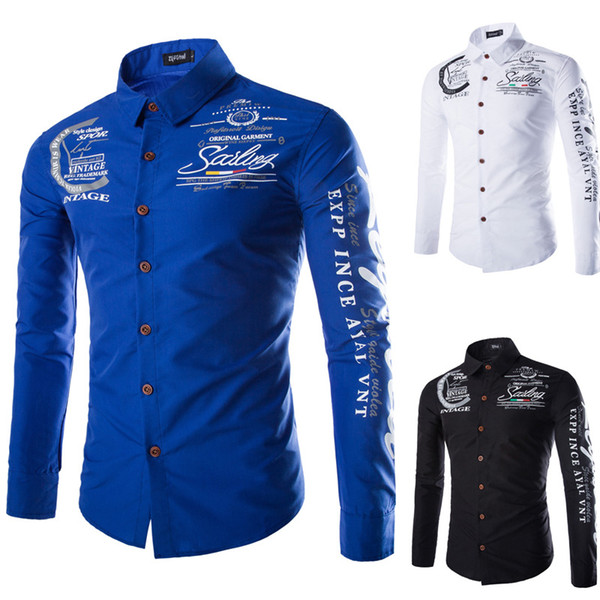 best selling Men 2017 Promotion Autumn Long Sleeve Casual Cotton Letter Shirts for Men Designer Slim Fit Dress Shirts LX4172