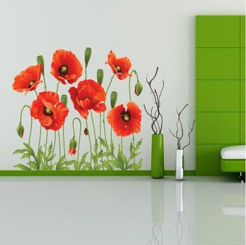 Büyük İndirim !! Kırmızı Haşhaş Çıkarılabilir Duvar Çıkartmaları Ev Dekorasyonu Sanat Çiçek Vinil Duvar Duvar Etiketler Ücretsiz Kargo Xy8001