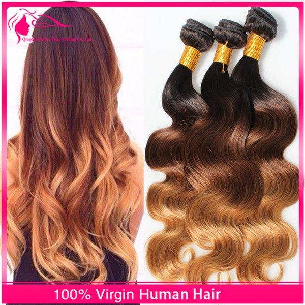 8A Ombre peruviane per capelli Ombre 1B / 4/27 Ombre I capelli umani tessono 3 pacchi Lotto 10-30 pollici Ombre capelli