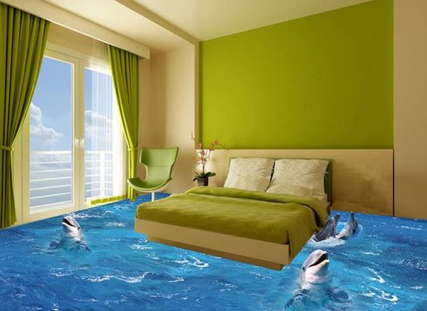 Carta da parati personalizzata foto pavimento 3D stereoscopico Waves Dolphins pavimento 3d murale PVC carta da parati autoadesiva pavimento wallpaer 20158202