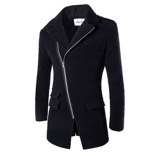 FG1509 Men's Long Coat 2015 Spring Fashion Brand Mens Wool Winter Coats Overcoat Men's Slim Fit Winter Jacket For Male ZHY1317