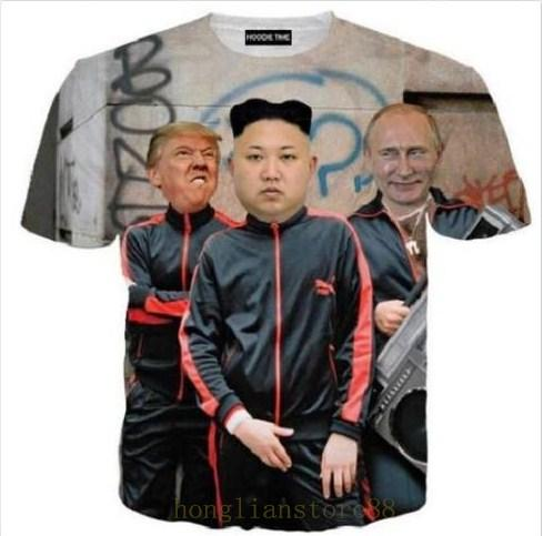 New Fashion Summer Men Women Putin Donald Trump And Kim Jong Un Full ... 5d0e811b4