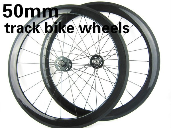 700C full carbon 50mm track bicycles cycling wheelset fixed gear 20.5mm width bike wheels 3K glossy finish novatec hubs