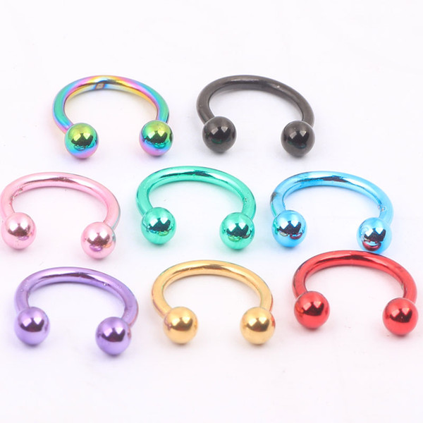 Fashion nose ring N03 100pcs/lot mix 8 colors 16G Ball Circulars Horseshoes Eyebrow Nose rings body piercing jewelry