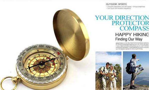 Mini Luminous Pocket Brass Watch Style Ring KeyChain Camping Hiking Hunting Marching Compass Navigation Outdoor Compass with box Packing