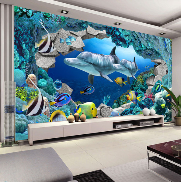 Grosshandel Underwater World Fototapete Custom 3d Wandbilder Cute Dolphin Tapete Kinderzimmer Jungen Schlafzimmer Interior Design Art Room Decor Von