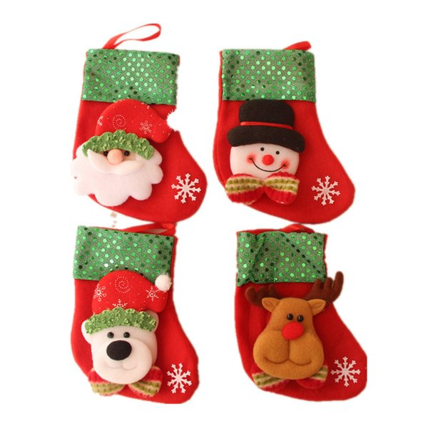 16*9cm Christams Stockings Candy Knife Bag Christmas Hanging Stockings Decoration Gifts Santa Claus Sock New Year 50Pcs/Lot Free Shipping