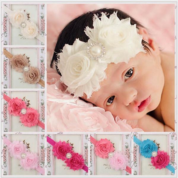 Großhandel Kind Große Blume Stirnband Kinder Stirnbänder Neugeborene Haarschmuck Kleines Mädchen Taufe Haarband Haarbögen Foto Prop 28 Farben Von