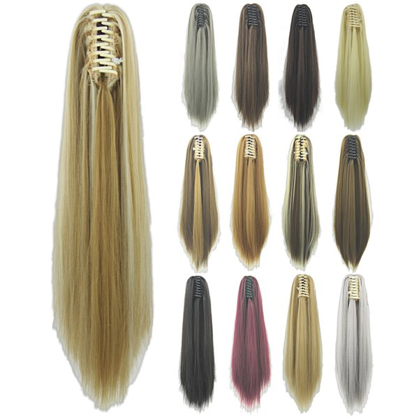 2017 Long Straight Clip In Hair Extensions Piece Blonde Gray Little Pony Tail Synthetic Hair Claw Ponytails