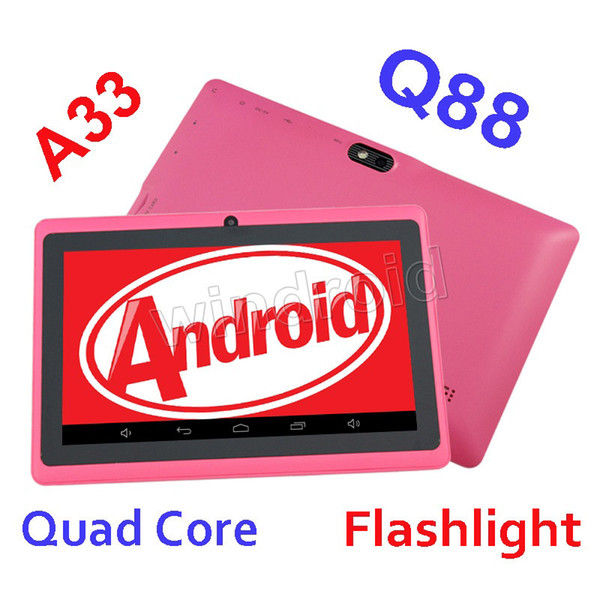 best selling Dual Camera Q88 A33 Quad Core Tablet PC Flashlight 7 Inch 512MB 4GB Android 4.4 kitkat Wifi Allwinner Colorful DHL 10pcs MID cheapest new