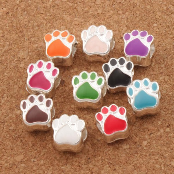 best selling Enamel Bear Paw Print Big Hole Beads 60pcs lot 10Colors Silver Plated Bead Fit European Bracelets L1770