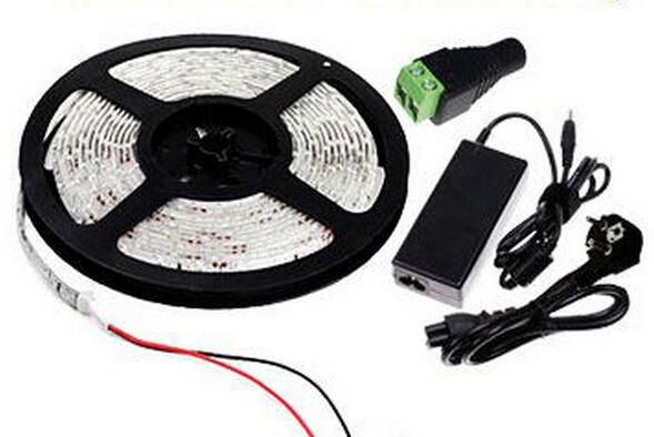 SMD 5630 LED Strip Kit 12 Volt 5 Meter per Roll 72W Warm white Red Blue Green Strips with Connector 6A Power Adapter 5m 12V 300leds 60leds/m