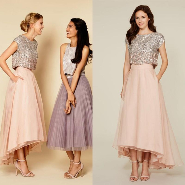 best selling 2019 Tutu Skirt Party Dresses Sparkly Two Pieces Sequins Top Vintage Tea Length Short Prom Dresses High Low Bridesmaid Dresses with Pockets